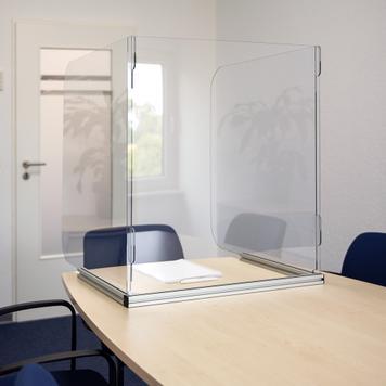 Masalar için 3 taraflı Hijyen Koruma Standı